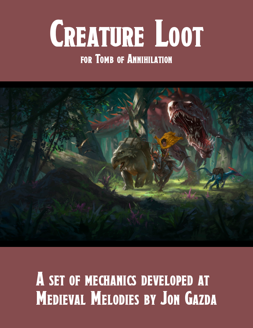 Tomb Of Annihilation Creature Loot Pdf Gm Binder